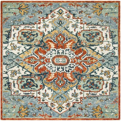 Chancellor Hand-Tufted Wool Blue/Rust Area Rug Rug Size: Rectangle 2 x 3