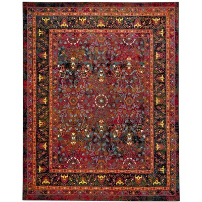 Antoine Black/Red Area Rug Rug Size: Rectangle 51 x 76