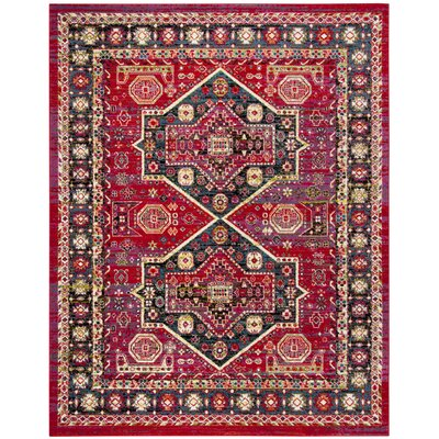 Antoine Red/Blue Area Rug Rug Size: Runner 23 x 8