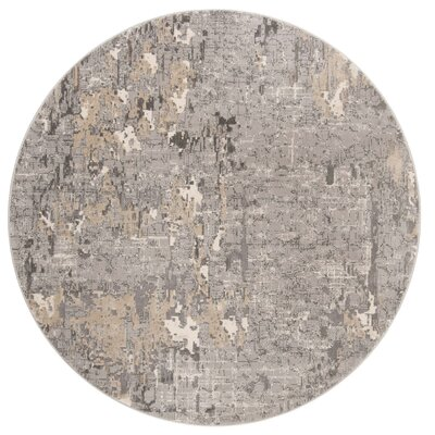 Edvin Gray Area Rug Rug Size: Round 67