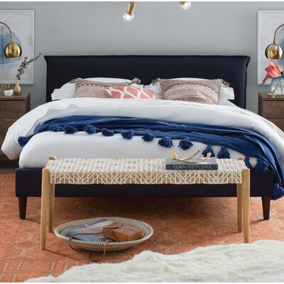 Highview Seamed Patriot Upholstered Platform Bed Size: California King, Color: Blueberry