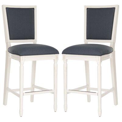 Ingraham 30 Bar Stool Upholstery: Navy, Frame Color: Distressed White