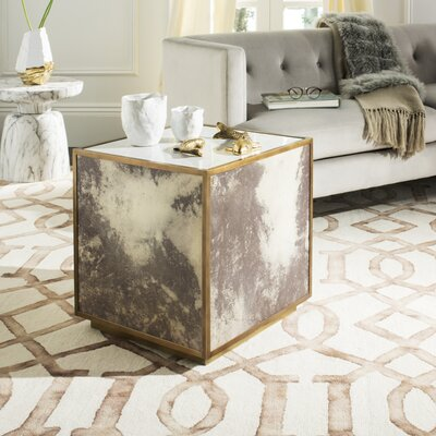 Patroclus End Table Color: White/Brass