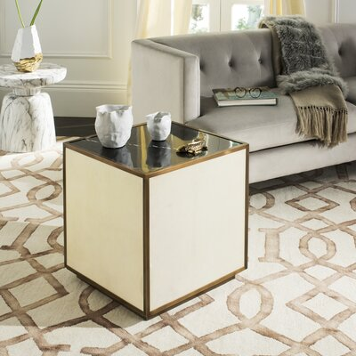 Patroclus End Table Color: Black/Brass