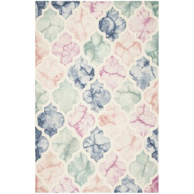 Corydon Hand Tufted Wool Pink/Ivory Area Rug Rug Size: Rectangle 3 x 5