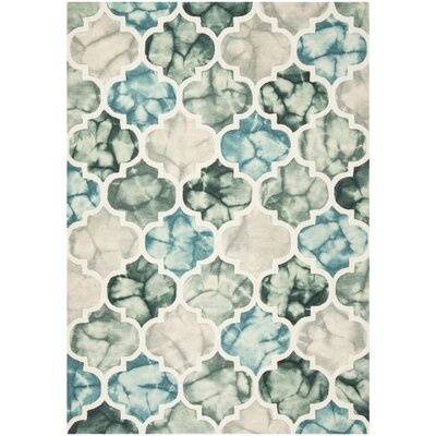 Corydon Hand Tufted Wool Teal/Ivory Area Rug Rug Size: Rectangle 5 x 8