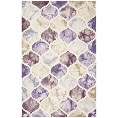 Corydon Hand Tufted Wool Purple/Ivory Area Rug Rug Size: Rectangle 5 x 8