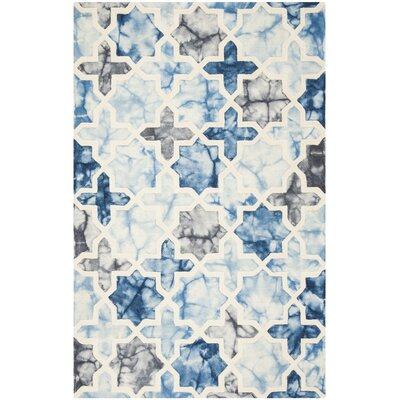 Corydon Hand Tufted Wool Dark Blue/Ivory Area Rug Rug Size: Rectangle 5 x 8