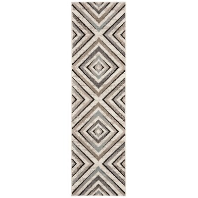 Alioth Cream/Beige Geometric Area Rug Rug Size: Runner 23 x 8