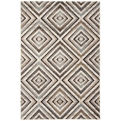 Alioth Cream/Beige Geometric Area Rug Rug Size: Square 67