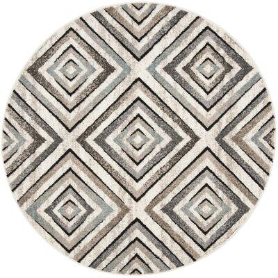 Alioth Cream/Beige Geometric Area Rug Rug Size: Round 67