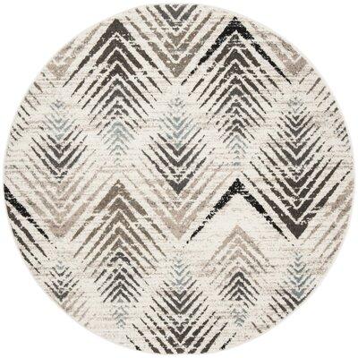 Alioth Cream/Beige Area Rug Rug Size: Round 67