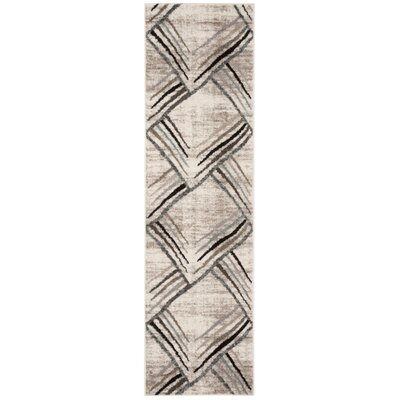 Quiros Cream/Charcoal Area Rug Rug Size: Runner 23 x 8