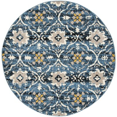 Dalrymple Blue/Cream Area Rug Rug Size: Round 67