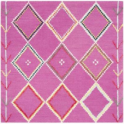 Carolwood Hand Tufted Wool Fuchsia Area Rug Rug Size: Square 5'
