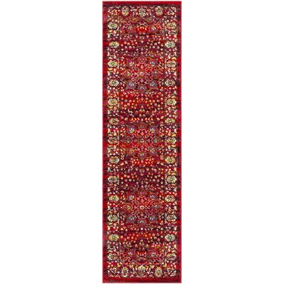 Attayac Red Area Rug Rug Size: Runner 23 x 8