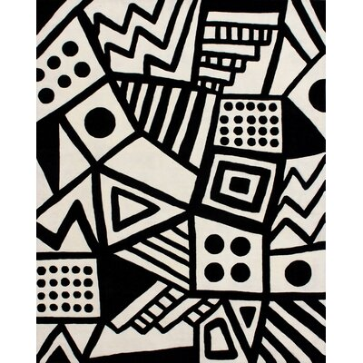 Hardin Hand Tufted Wool Ivory/Black Area Rug Rug Size: Rectangle 5 x 8