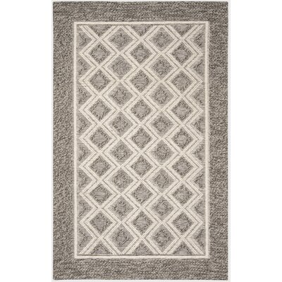 Halperin Hand Woven Wool/Cotton Gray/Ivory Area Rug Rug Size: Rectangle 5 x 8