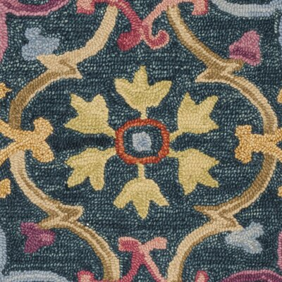 Talmo Hand Hooked Wool Blue/Yellow Area Rug Rug Size: Rectangle 5 x 8