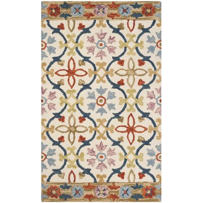 Talmo Hand Hooked Wool Ivory/Blue Area Rug Rug Size: Rectangle 3 x 5