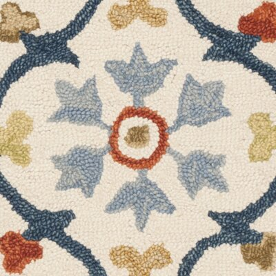 Talmo Hand Hooked Wool Ivory/Blue Area Rug Rug Size: Rectangle 8 x 10