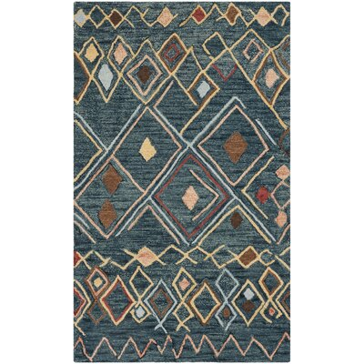 Talmo Hand Hooked Wool Dark Blue/Yellow Area Rug Rug Size: Rectangle 3 x 5