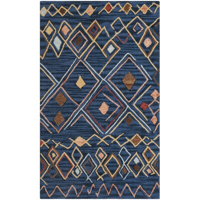 Talmo Hand Hooked Wool Blue/Yellow Area Rug Rug Size: Rectangle 3 x 5