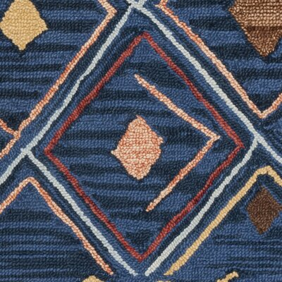 Talmo Hand Hooked Wool Blue/Yellow Area Rug Rug Size: Rectangle 8 x 10
