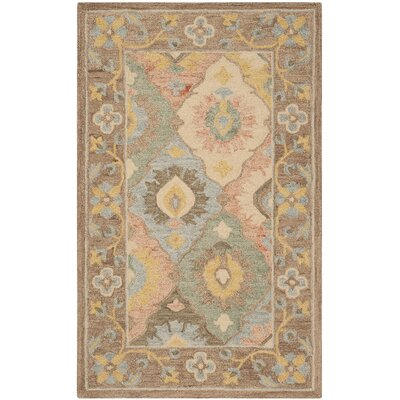 Talmo Hand Hooked Wool Ivory Area Rug Rug Size: Rectangle 5 x 8
