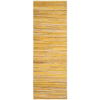 Hand-Woven Yellow Area Rug Rug Size: Runner 23 x 12