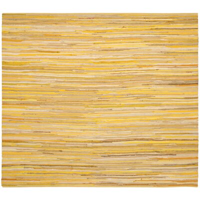 Hand-Woven Yellow Area Rug Rug Size: Square 4