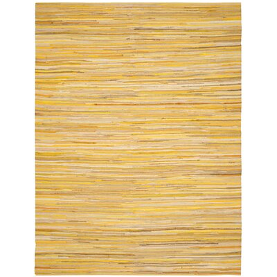 Hand-Woven Yellow Area Rug Rug Size: Rectangle 9 x 12