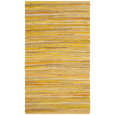 Hand-Woven Yellow Area Rug Rug Size: Runner 23 x 11