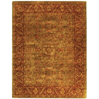 Jaipur Hand-Tufted Wool Green/Rust Area Rug Rug Size: Rectangle 9 x 12