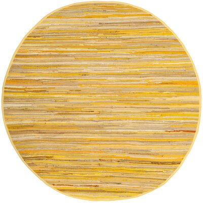 Hand-Woven Yellow Area Rug Rug Size: Round 4