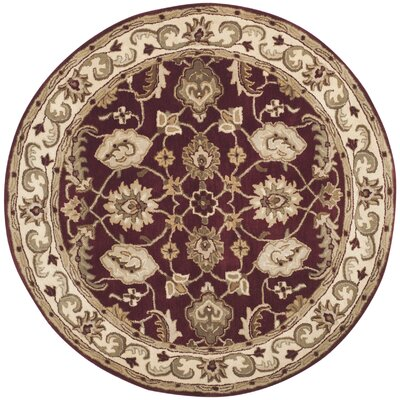 Royalty Red/Ivory Rug Rug Size: Round 5