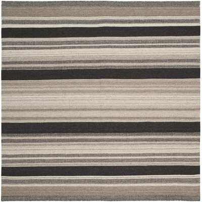 Dhurries Brown/Ivory Area Rug Rug Size: Square 6 x 6