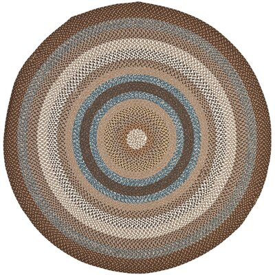 Braided Brown Area Rug Rug Size: Round 6'