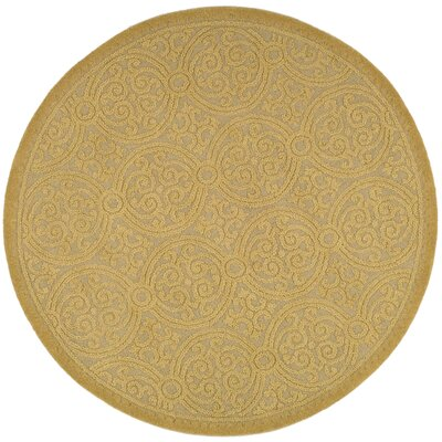 Cambridge Hand-Tufted Wool Gold Area Rug Rug Size: Round 6