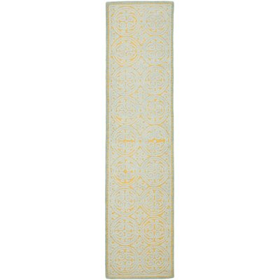 Cambridge Hand-Tufted Blue/Gold Area Rug Rug Size: Runner 26 x 6