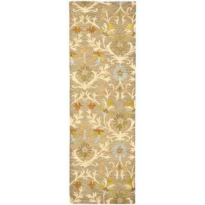 Parker Lane Hand-Tufted Wool Moss/Beige Area Rug Rug Size: Runner 26 x 8