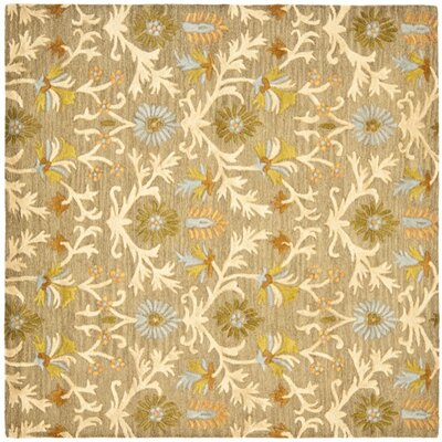 Parker Lane Hand-Tufted Wool Moss/Beige Area Rug Rug Size: Square 6