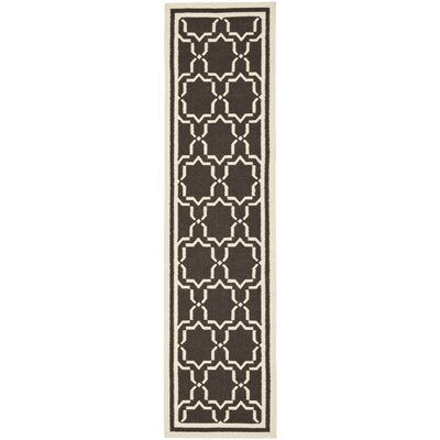 Dhurrie Chocolate Area Rug Rug Size: Runner 26 x 12