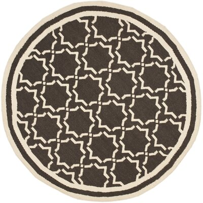 Dhurrie Chocolate Area Rug Rug Size: Round 8