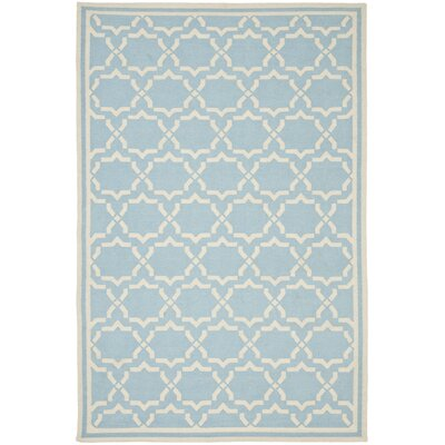 Dhurries Hand-Woven Wool Light Blue/Ivory Area Rug Rug Size: Rectangle 5' x 8'
