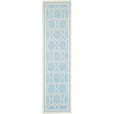 Dhurries Hand-Woven Wool Light Blue/Ivory Area Rug Rug Size: Runner 2'6