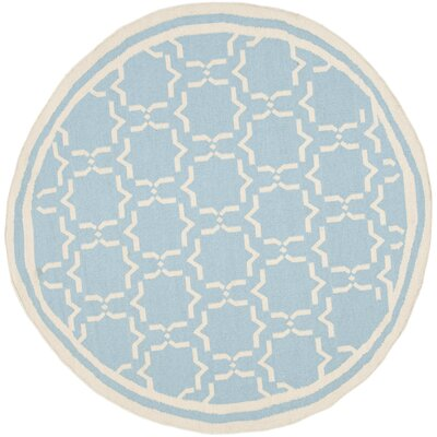 Dhurries Light Blue/Ivory Area Rug Rug Size: Round 8