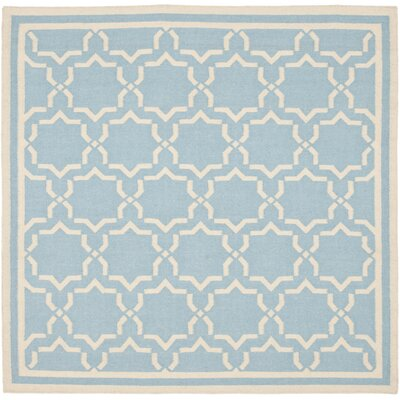 Dhurries Hand-Woven Wool Light Blue/Ivory Area Rug Rug Size: Square 8