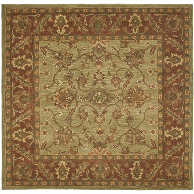 Jaipur Hand-Tufted Wool Green/Rust Area Rug Rug Size: Square 6