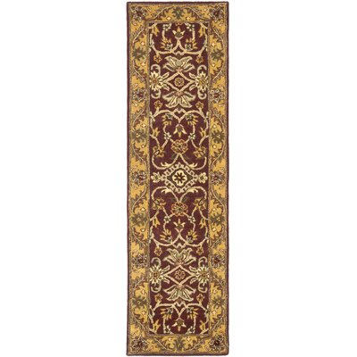 Golden Jaipur Burgundy/Gold Area Rug Rug Size: Runner 23 x 8